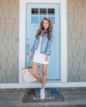 jacket,denim jacket,mini dress,white dress,white sneakers,maxi bag