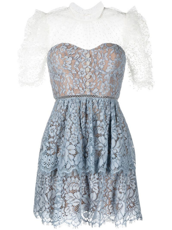 Self-Portrait tiered lace dress in blue