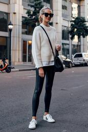 fashionjackson,blogger,sweater,t-shirt,leggings,shoes,sunglasses,bag