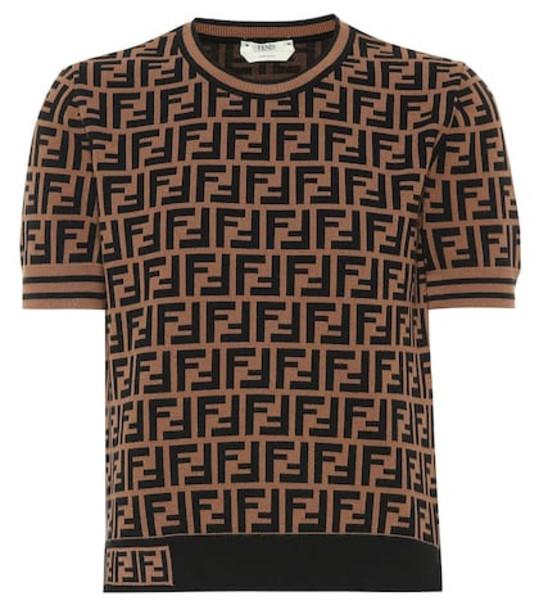 Fendi Logo jersey shirt in brown