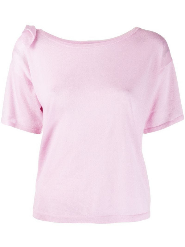 Autumn Cashmere short sleeve knitted top in pink