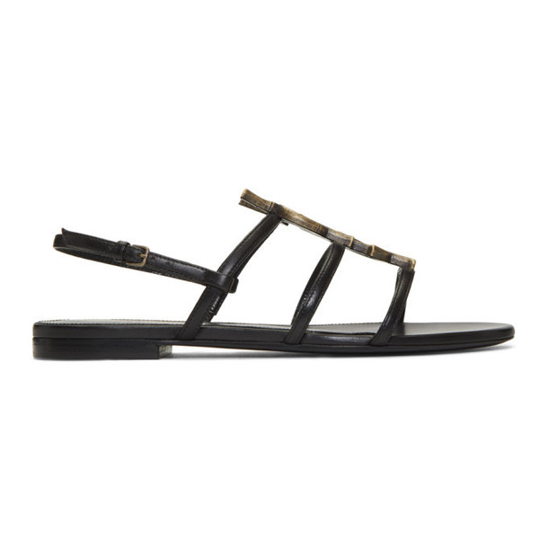 Saint Laurent Black Bamboo Logo Cassandra Open Sandals