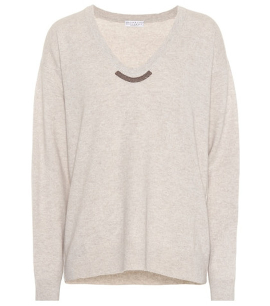 Brunello Cucinelli Wool, cashmere and silk sweater in beige / beige