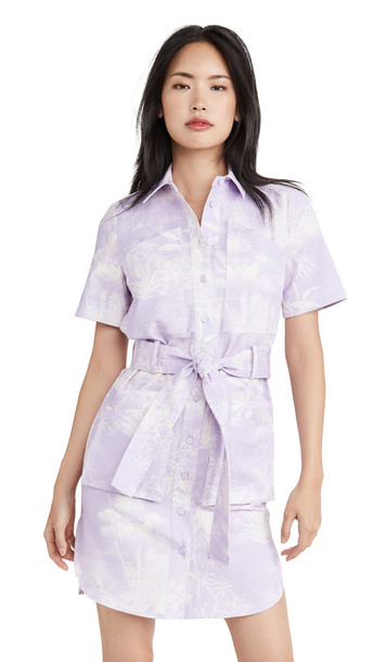 Adam Lippes Belted Shirt Dress In Printed Twill in cream / lilac