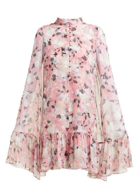 Erdem - Constantine Floral Print Silk Voile Cape Dress - Womens - Pink Print