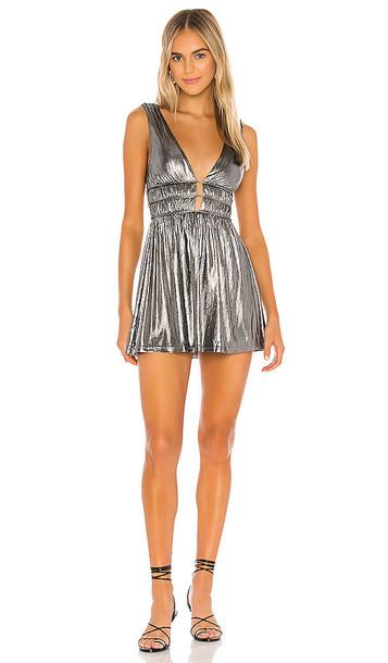superdown Isabella Mini Dress in Metallic Silver
