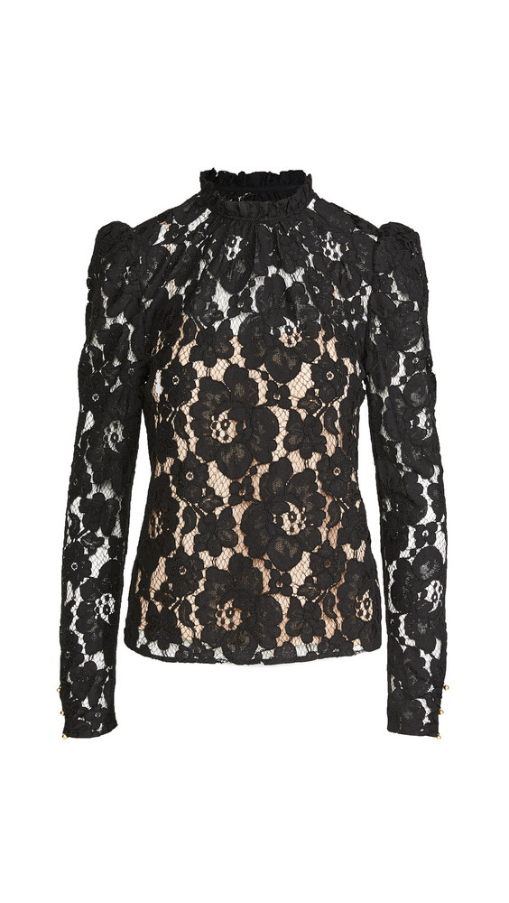 WAYF Emma Puff Sleeve Lace Top in black