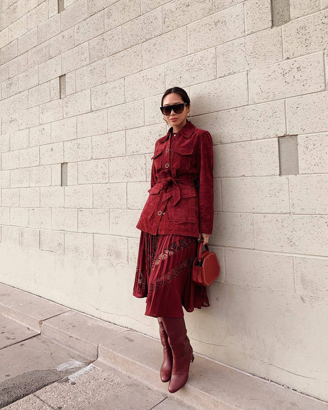 skirt pleated skirt midi skirt red skirt floral skirt knee high boots red boots red jacket top handbag