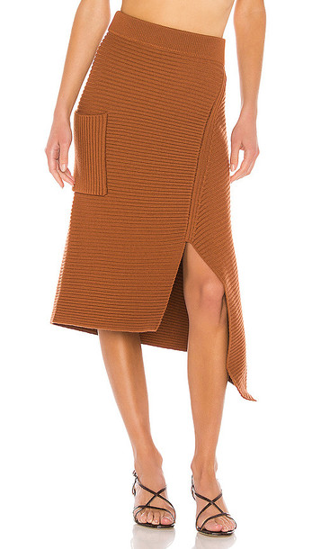 Tibi Merino Rib Sweater Origami Slit Skirt in Brown