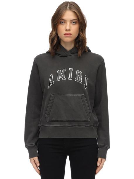 AMIRI Logo Cotton Jersey Sweatshirt Hoodie in grey