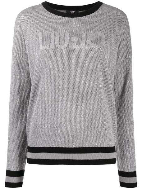 LIU JO embroidered logo waffle-knit jumper in grey