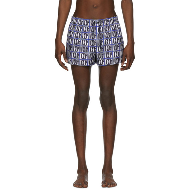 Dolce and Gabbana Dolce & Gabbana Blue & White DG Graphic Swim Shorts