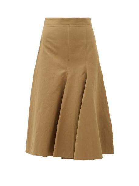 Joseph - Barton Flared-panel Cotton-blend Skirt - Womens - Khaki