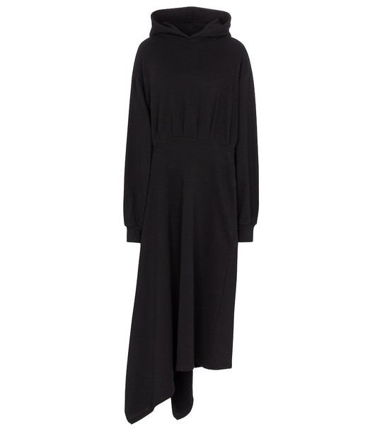 Balenciaga Asymmetric cotton hoodie dress in black