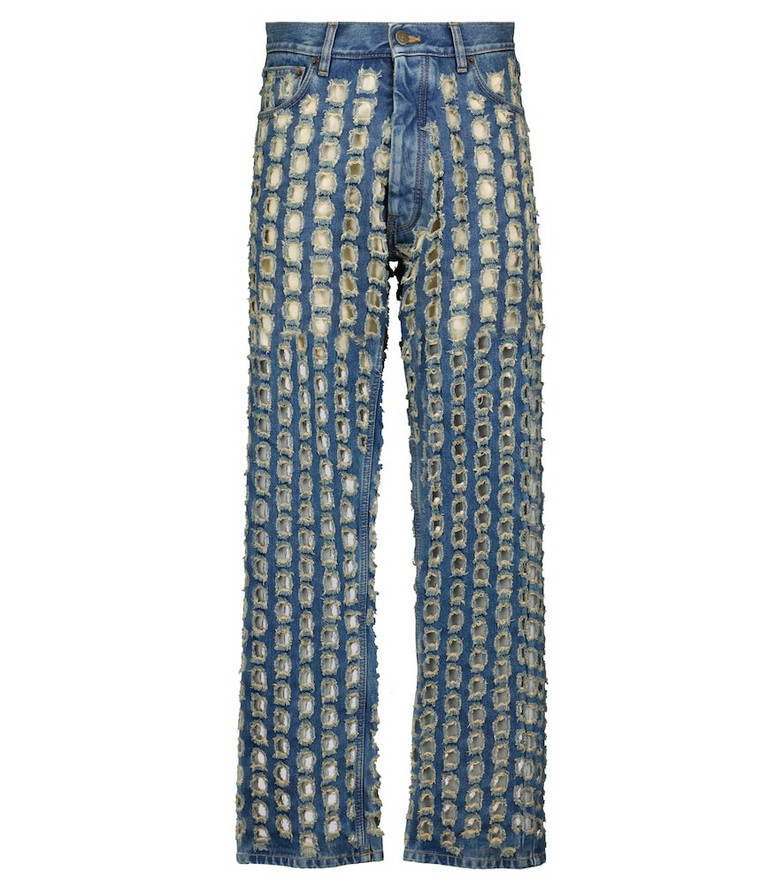 Maison Margiela Low-rise distressed straight jeans in blue