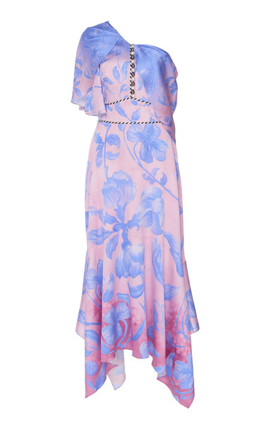 Peter Pilotto One-Shoulder Floral-Print Silk-Blend Midi Dress in pink