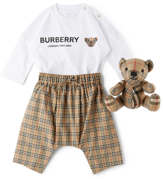 Burberry Baby Thomas Bear Bodysuit Set in beige