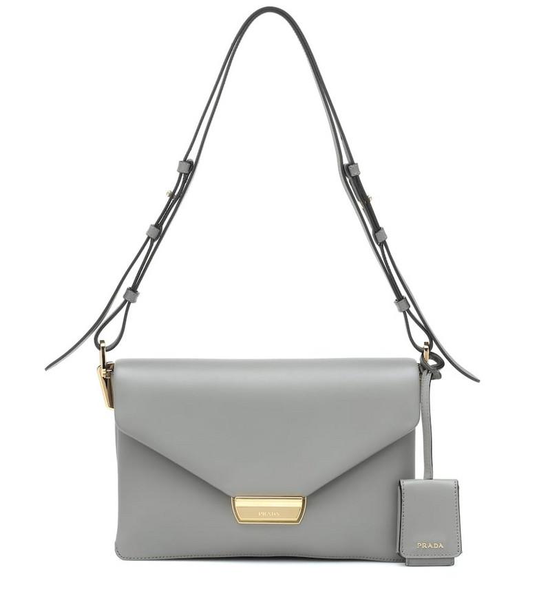 Prada Leather shoulder bag in grey