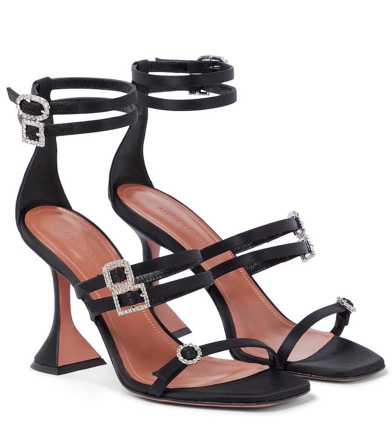 Amina Muaddi Robyn embellished satin sandals in black