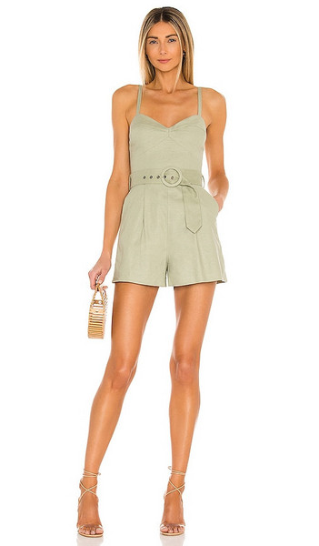 House of Harlow 1960 x Sofia Richie Nicola Romper in Sage in green