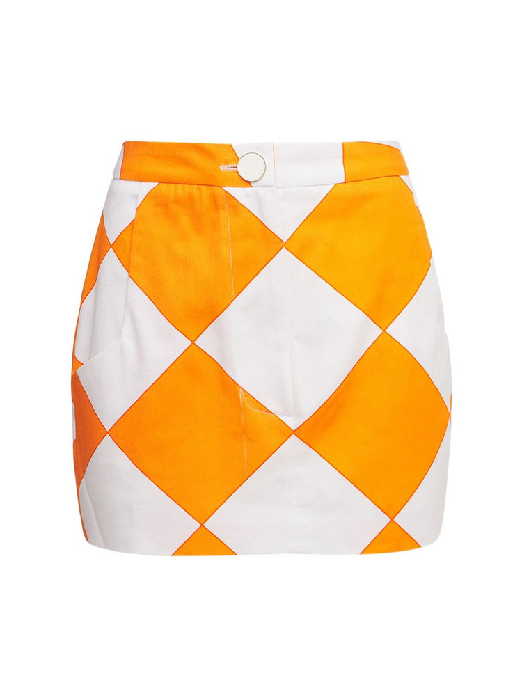 ROWEN ROSE Printed Cotton Gabardine Mini Skirt in orange / white