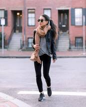 sweater,grey sweater,black sneakers,black skinny jeans,pink bag,crossbody bag,black leather jacket,scarf,streetstyle