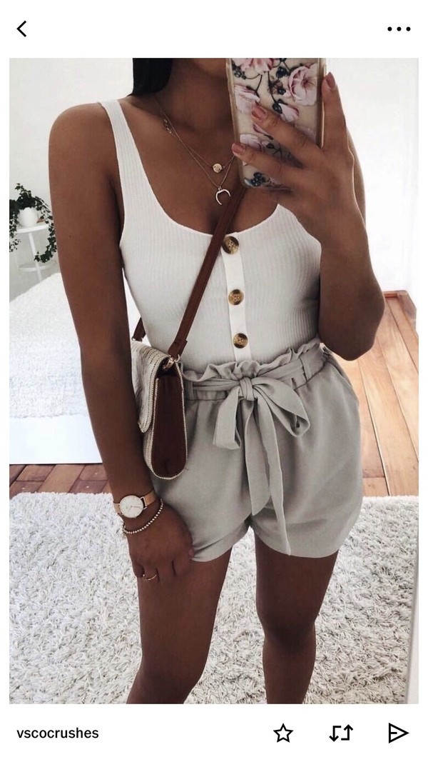 blouse white button up top tank top white buttons shorts flowy shorts white top high waisted cute paperbag top button ribbed button down tank top