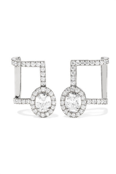 Messika - Glam'azone 18-karat White Gold Diamond Earrings