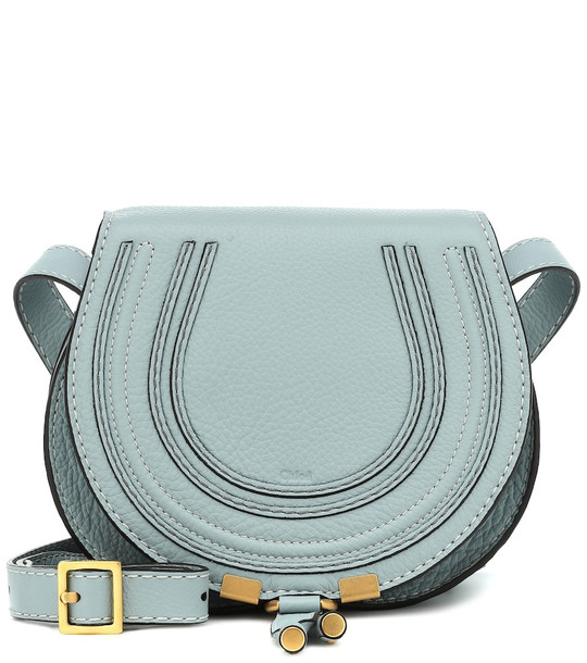Chloé Mini Marcie leather shoulder bag in blue