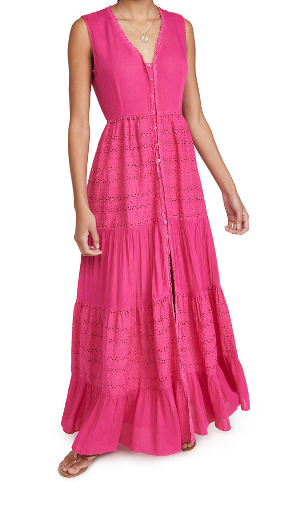 Playa Lucila Eyelet Maxi Dress in pink