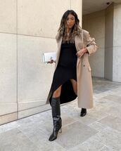 shoes,black boots,knee high boots,black dress,asymmetrical dress,long coat,white bag