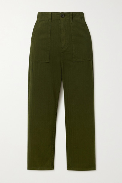 THE GREAT. THE GREAT. - The Ranger Herringbone Cotton Pants - Green