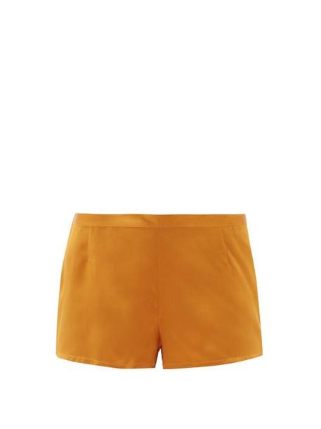 La Perla - Silk-satin Pyjama Shorts - Womens - Dark Yellow