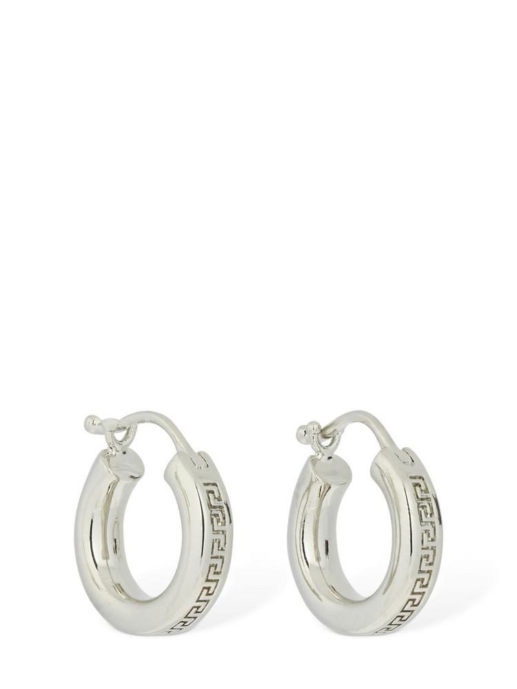 VERSACE Greek Motif Small Hoop Earrings in silver