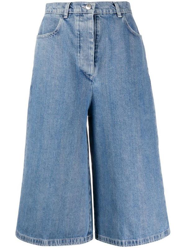 Sunnei wide-leg denim shorts in blue