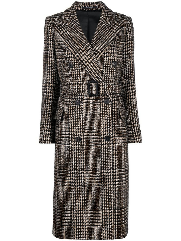 Tagliatore houndstooth belted coat in brown