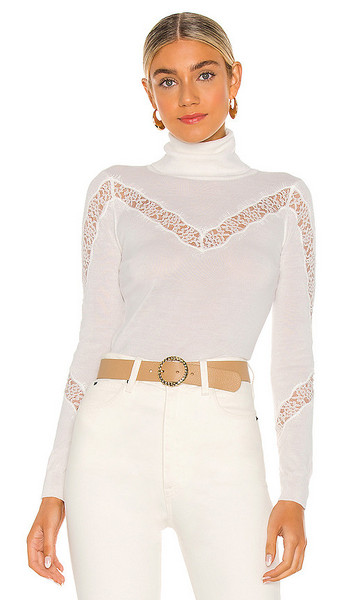 MILLY X REVOLVE Lace Inset Sweater in White in ecru