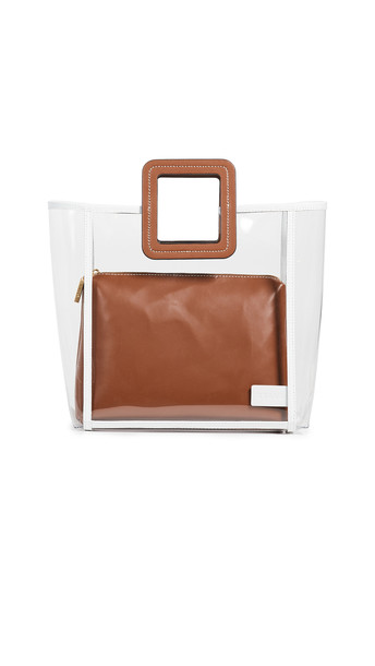 STAUD Framed Shirley Bag in tan / white / clear
