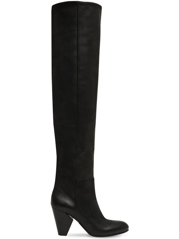 STRATEGIA 80mm Leather Over The Knee Boots in black