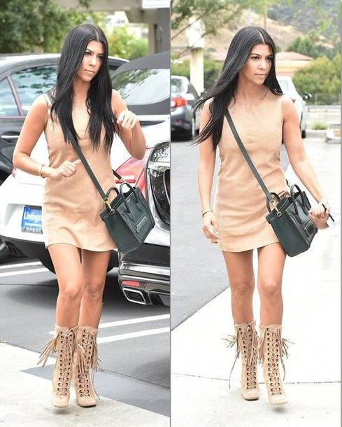 nude dress boots
