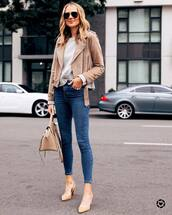 jeans,skinny jeans,pumps,handbag,suede jacket,grey sweater