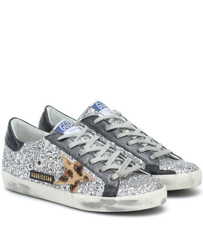 Golden Goose Superstar leather-trimmed sneakers in silver