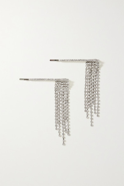 LELET NY - Set Of Two Rhodium-plated Crystal Hair Slides - Silver