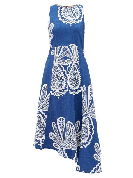 La DoubleJ - Pina Big Pineapple-print Cotton-blend Midi Dress - Womens - Blue Print
