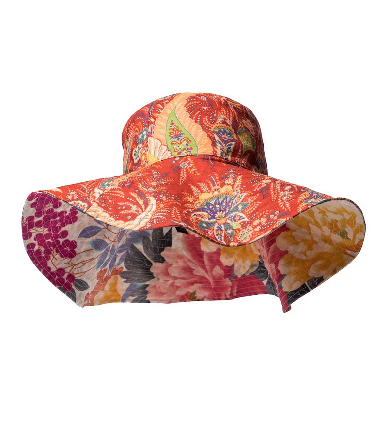 Etro Paisley ramie hat in red