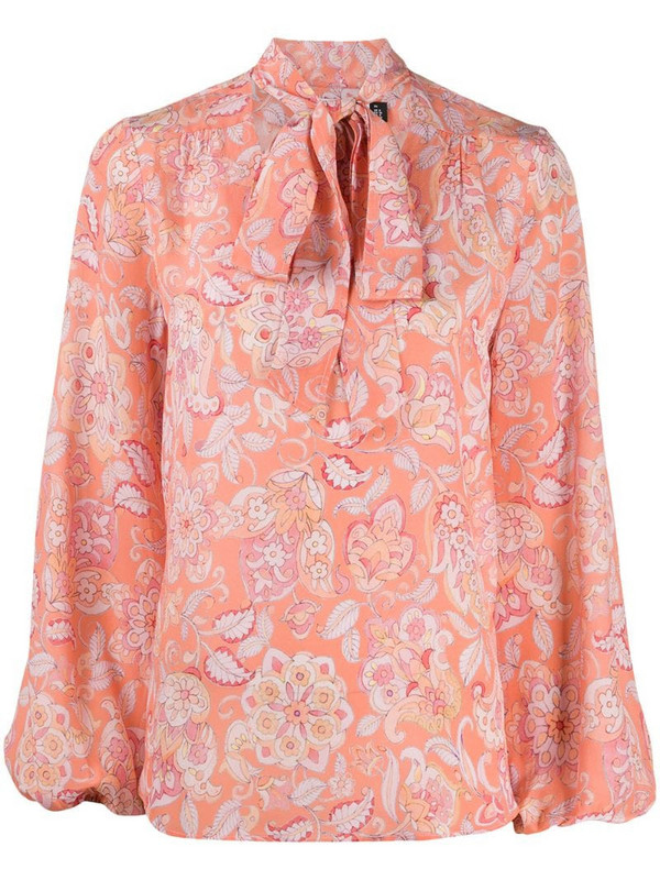Rixo Moss floral print tied-neck blouse in pink