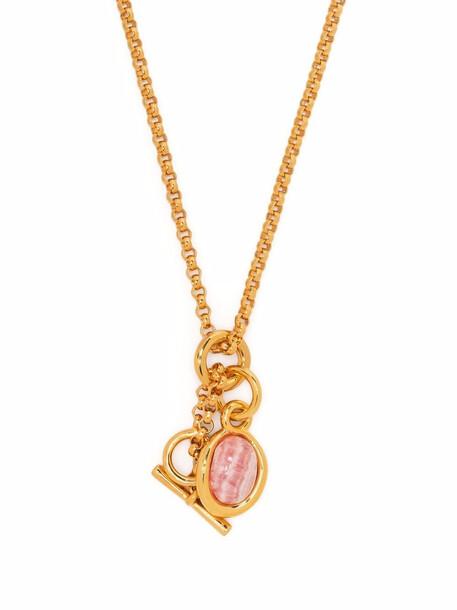 Charlotte Chesnais Neo Turtle rhodochorosite-mineral necklace - Gold