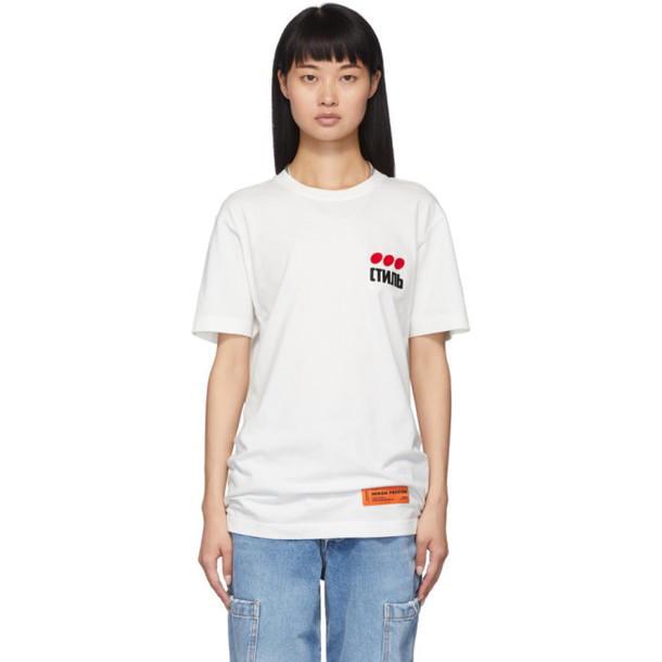 Heron Preston White Style Dots T-Shirt