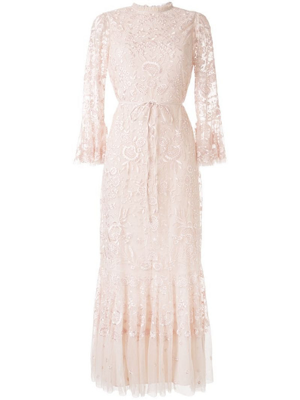 Needle & Thread sheer floral tie waist gown in pink