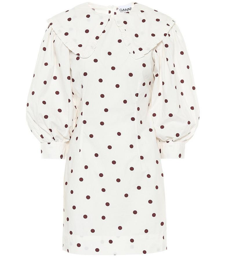 Ganni Polka-dot cotton-poplin dress in white
